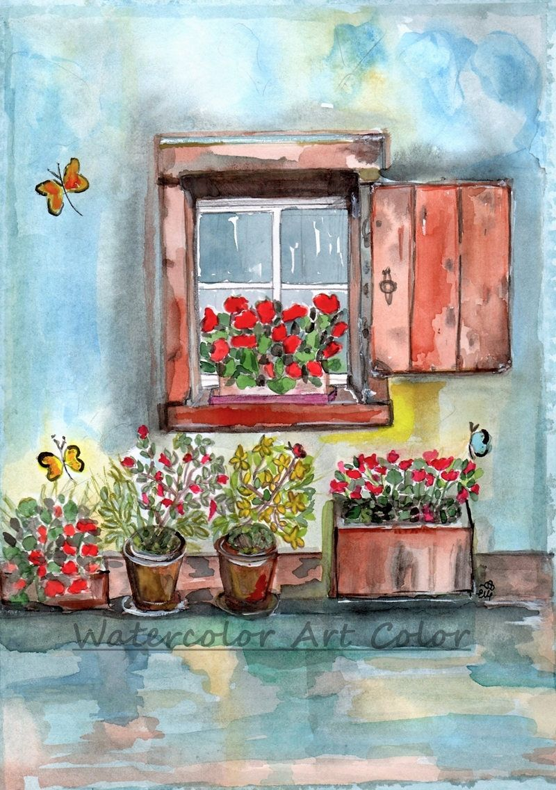 Watercolor Art Print Wall Art Watercolour Painting Spring Window