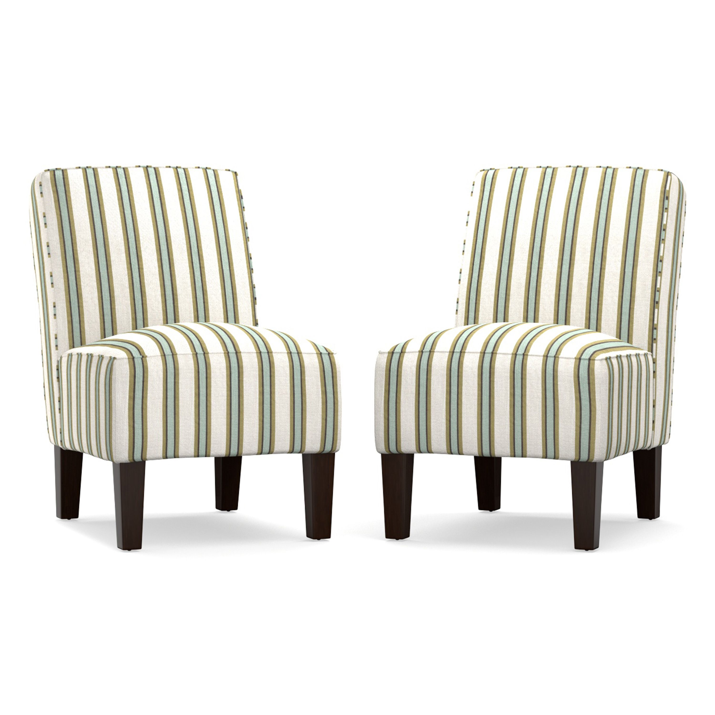 The angelo:HOME set of two Jules armless accent chairs are covered ...