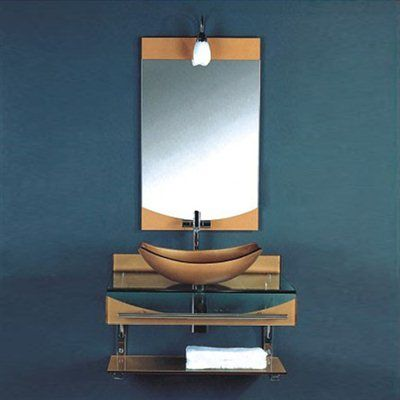 Kokols Wf 24 31 In Wall Mount Vessel Bathroom Vanities W Sink Combo Set Small Sinks Floating Glass