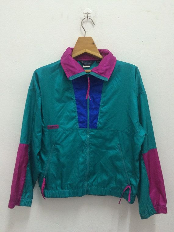 Women s Vintage 90s Columbia Neon Colors Pullover Windbreaker Lightweight  Jacket Retro The North Face Berghaus Patagonia Penfield e2cc16aa6
