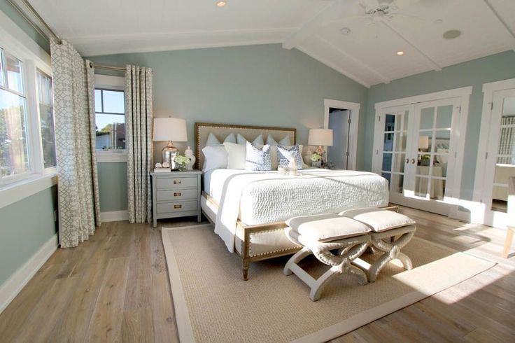 Steely Light Blue Bedroom Walls Wide Plank Rustic Wood Floors Patterned Curtains Lots Of Light Va Blue Bedroom Walls Light Blue Bedroom Bedroom Wall Colors