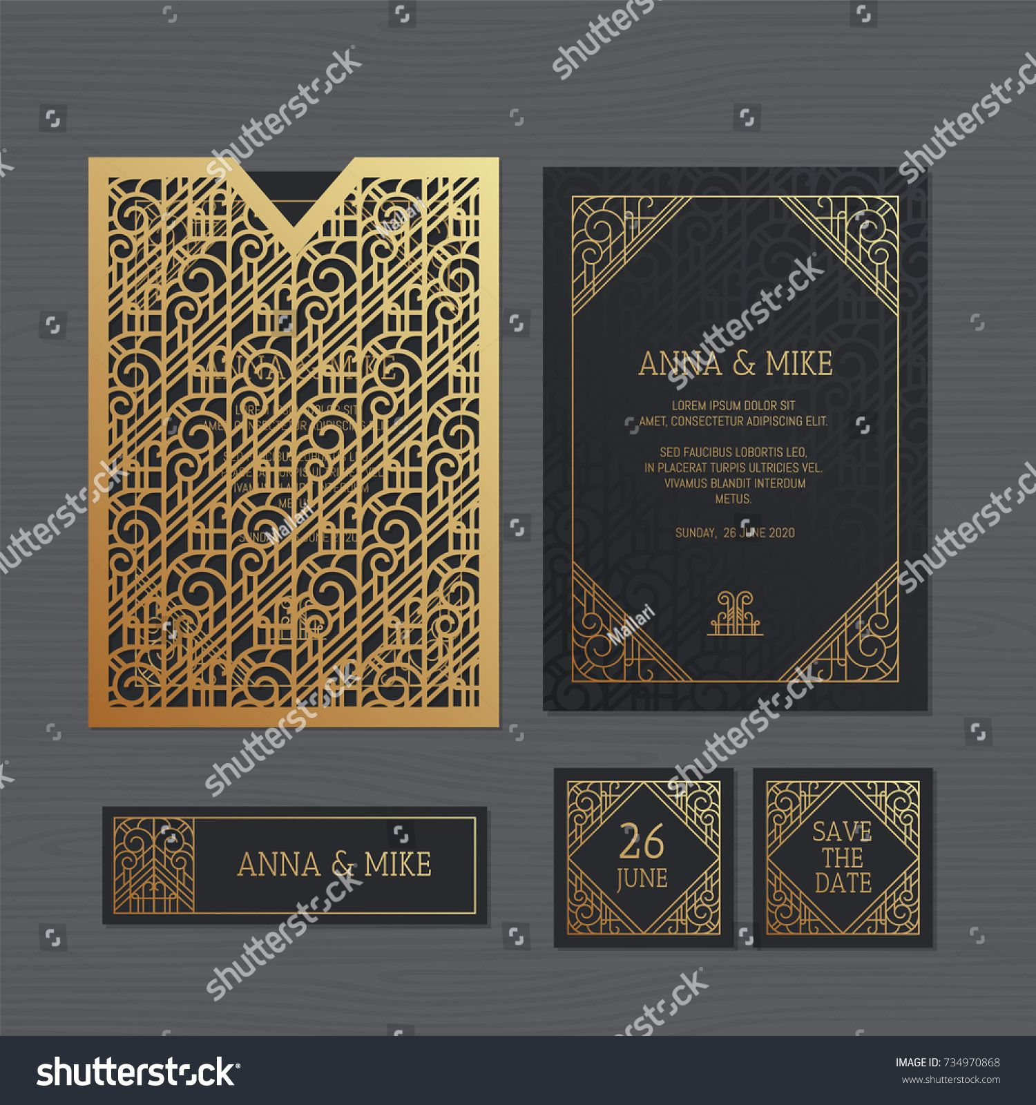Luxury Wedding Invitation Or Greeting Card With Geometric Ornament Art Deco Style Paper Lace Deco Invitations Art Deco Invitations Luxury Wedding Invitations