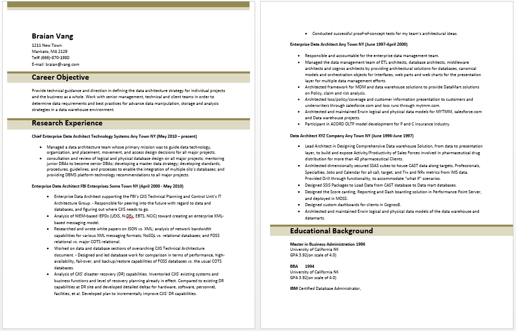 Enterprise Data Architect Resume Sample Resume Template Architect Resume Sample Architect Resume Architecture Resume