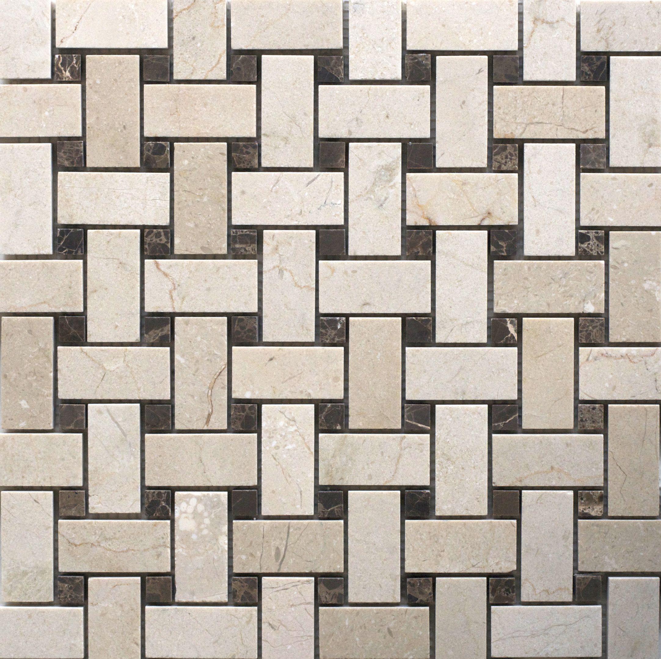 Nc222843 Marfil And Emperador Honed Marble Basketweave Basket Weave Tile Mosaic Honed Marble