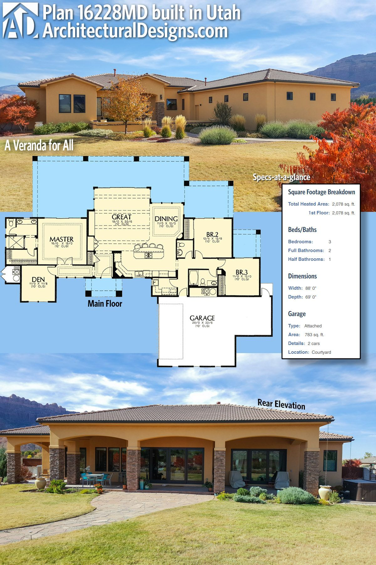 Our Client Built Architectural Designs Mediterranean House Plan 16228md In Utah This Plan Has A Large Co Craftsman House Plan Exclusive House Plan How To Plan
