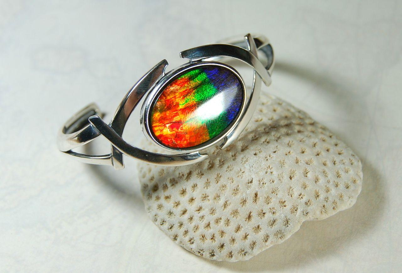 63944a7db9ccd7 Ammolite Jewelry From Canada - Ammolite Bracelet.Big 4 colour Rainbow Stone.BIG  impact