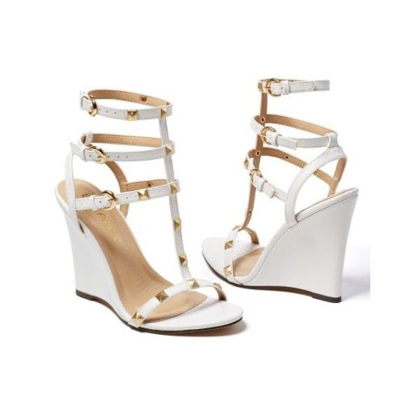 5b51fea2b00 Venus Studded Gladiator Wedge (£21) ❤ liked on Polyvore featuring shoes