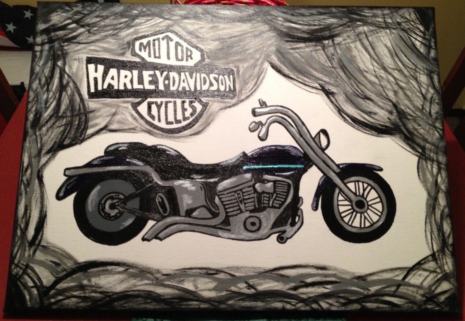Motorcycle canvas I painted for a Christmas gift | Painting Projects ...