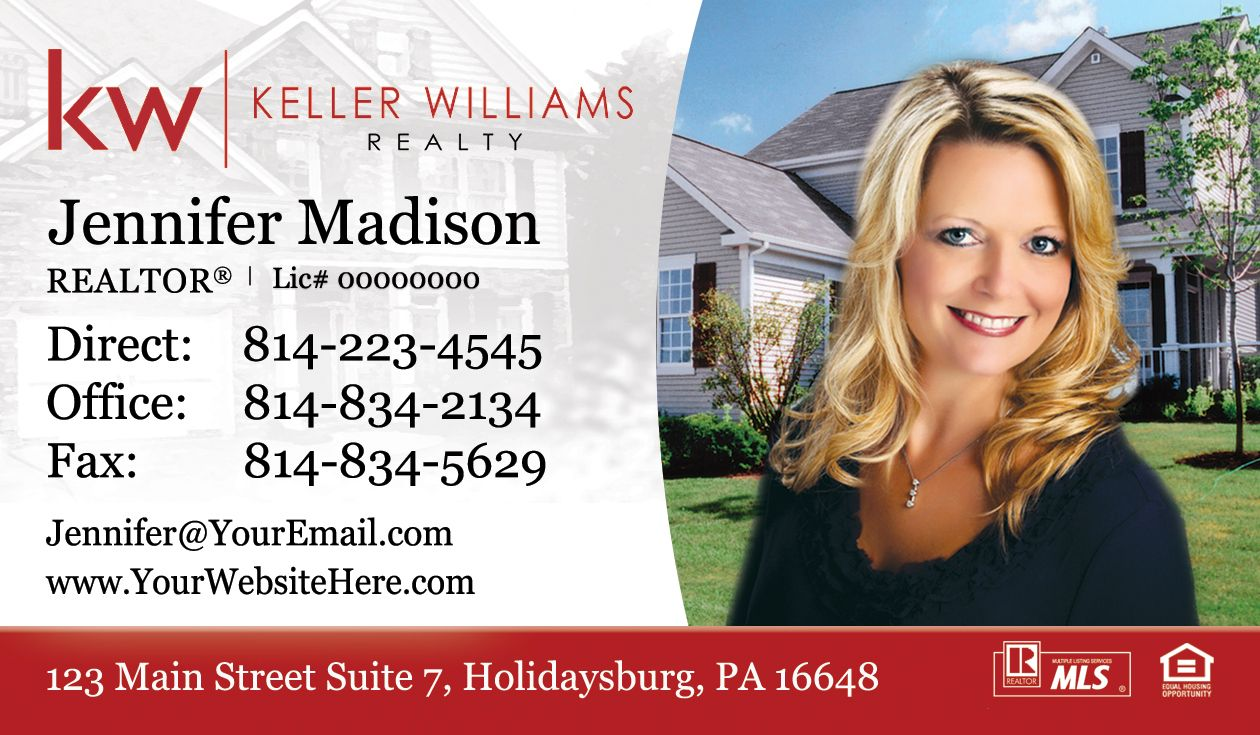 New Keller Williams Real Estate Business Card Design With Headshot Faded Keller Williams Business Cards Real Estate Business Cards Keller Williams Realty Logo