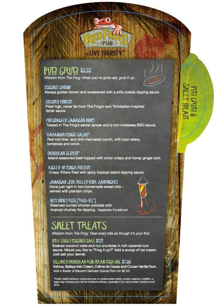 Carnival Red Frog Pub Menu Carnival Vista Ship