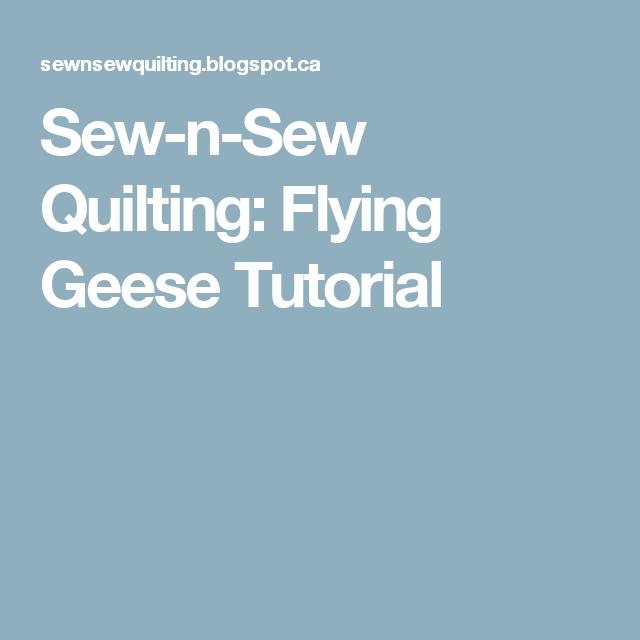 Sew-n-Sew Quilting: Flying Geese Tutorial