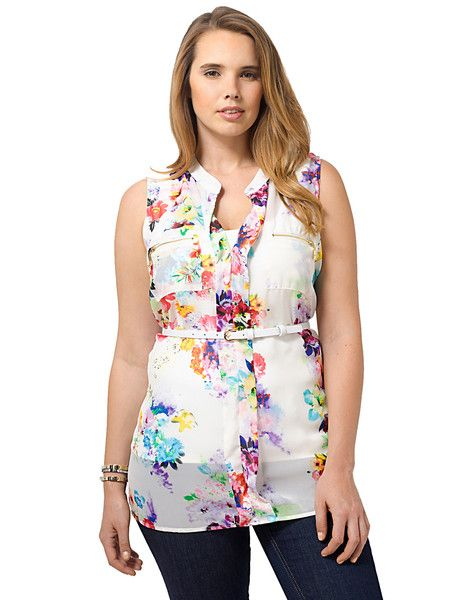 Floral Sleeveless Top With Belt