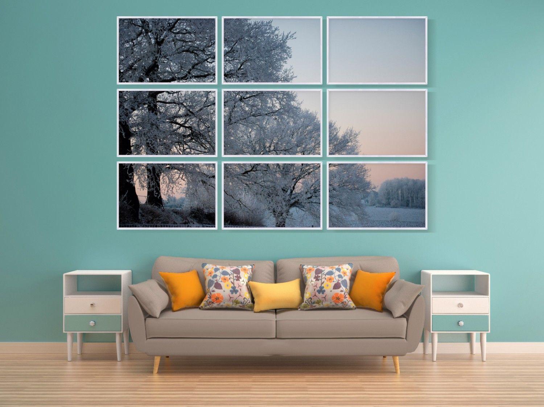 Conjunto De Quadros Decorativos Paisagem Rvores No Inverno Kit  ~ Quadros Para Imprimir Quarto E Piso Em Parede De Quarto