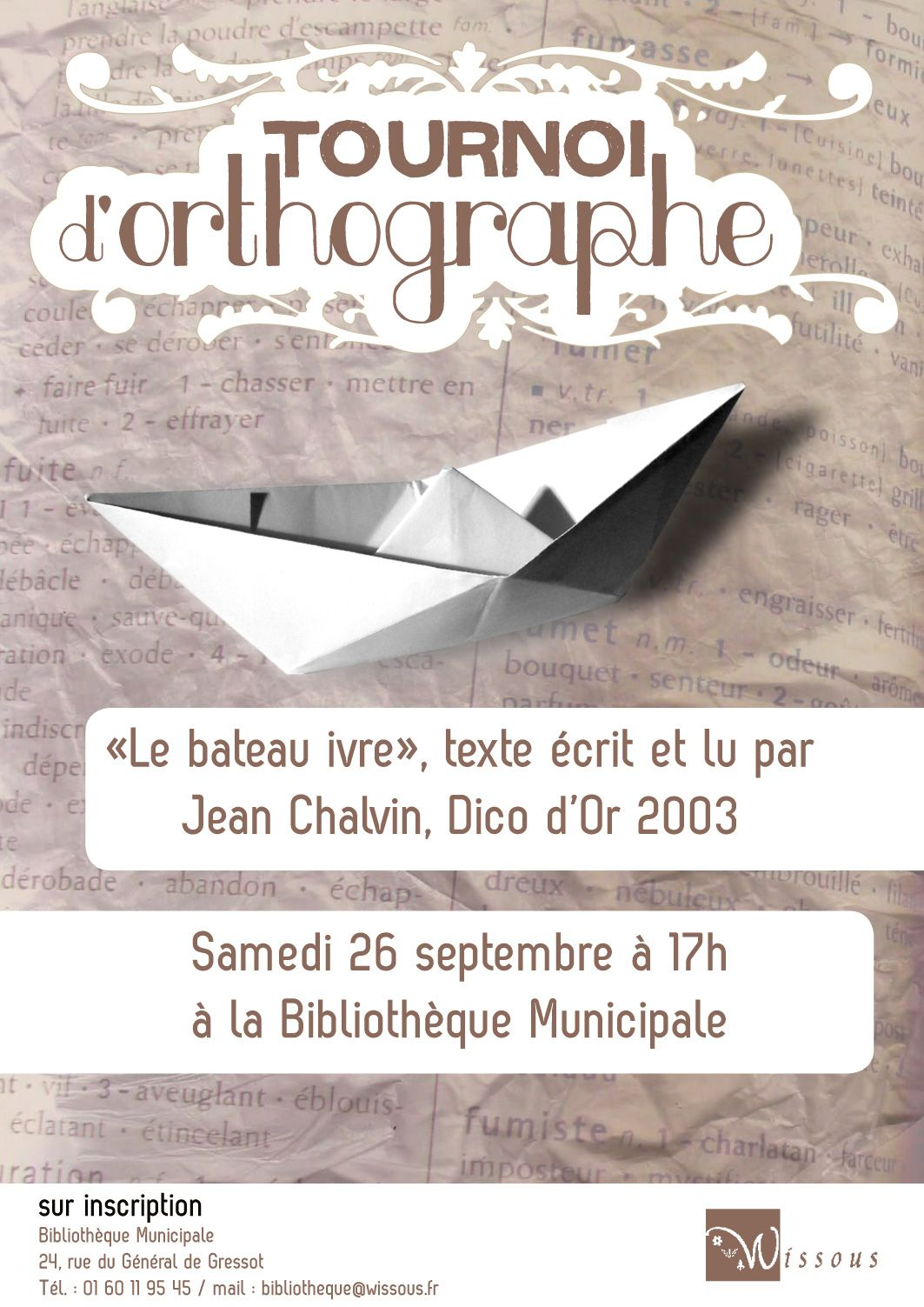 "affiche ""Tournoi d'orthographe"" - Wissous"