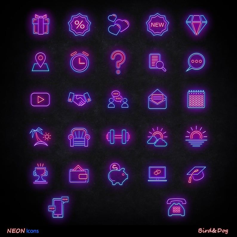 56 instagram story highlight covers neon icons for