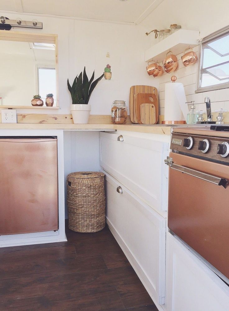 rv kitchen appliances island plans omg a rose gold and white in tiny house or i have to do this