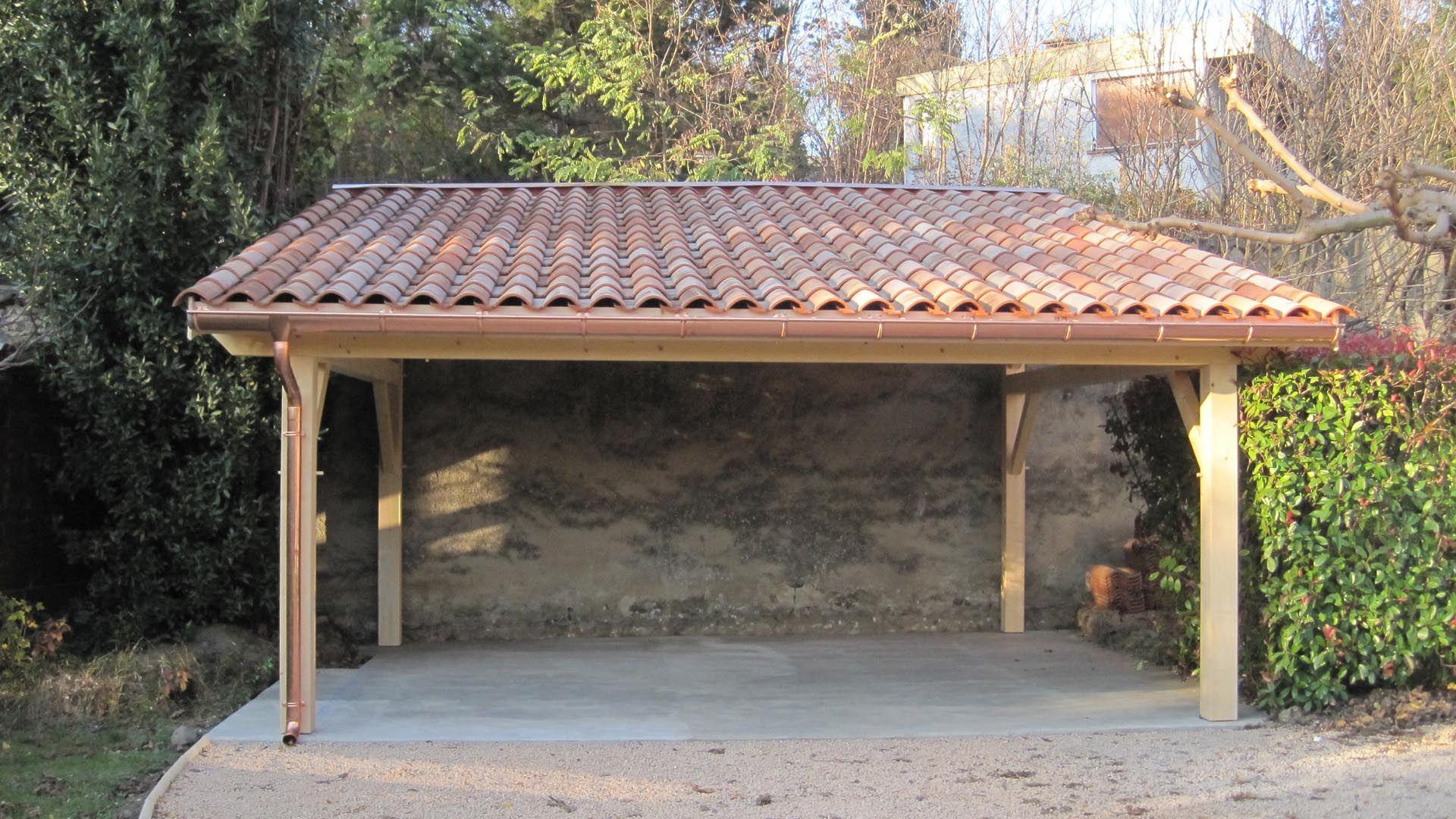 Carport En Bois Traité Max 15,72 M² + Kit D'ancrage