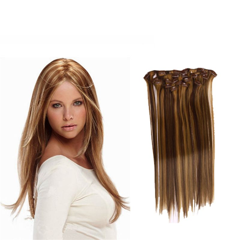 Hairpiece 22inch Straight Hair Clips In False Hair Styling Synthetic Clip 100g In Hair Extensions 7pcs Set Heat Hair Pieces Straight Hairstyles Synthetic Hair