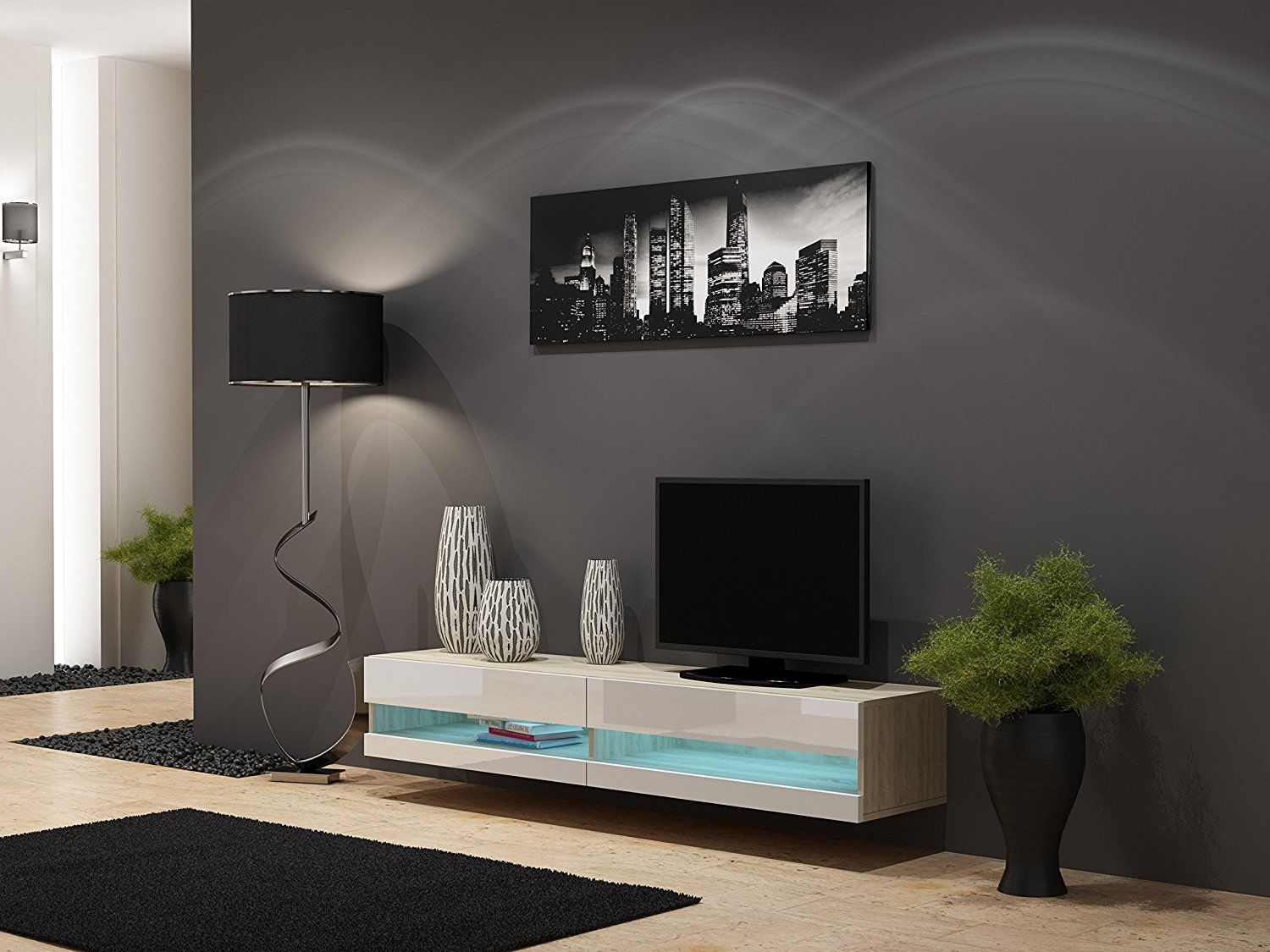 High Gloss Living Room Set With Led Lights Tv Stand Wall Mounted Cabinet Modern Display Units Floating Design White 1 Unit Co Uk