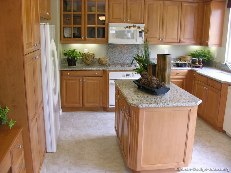Traditional Light Wood Kitchen Cabinets With White Appliances This