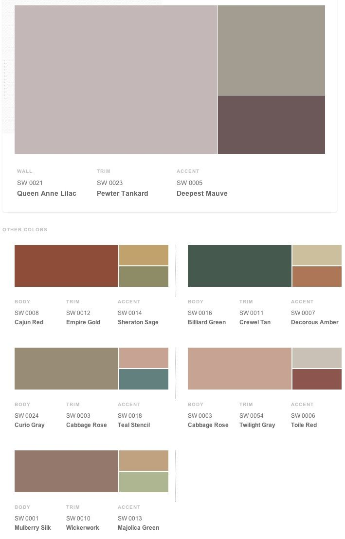 Victorian historical shades of interior paint colors from Sherwin ...
