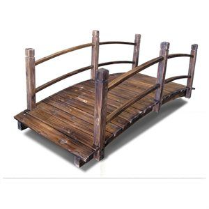 New 5ft Decorative Stained Finish Wooden Bridge Garden Pond Outdoor Decor 1 of 2