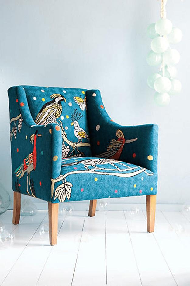 Peacock Print Teal Blue Chair, Peacock Blue, Teal Blue, Blue Green,