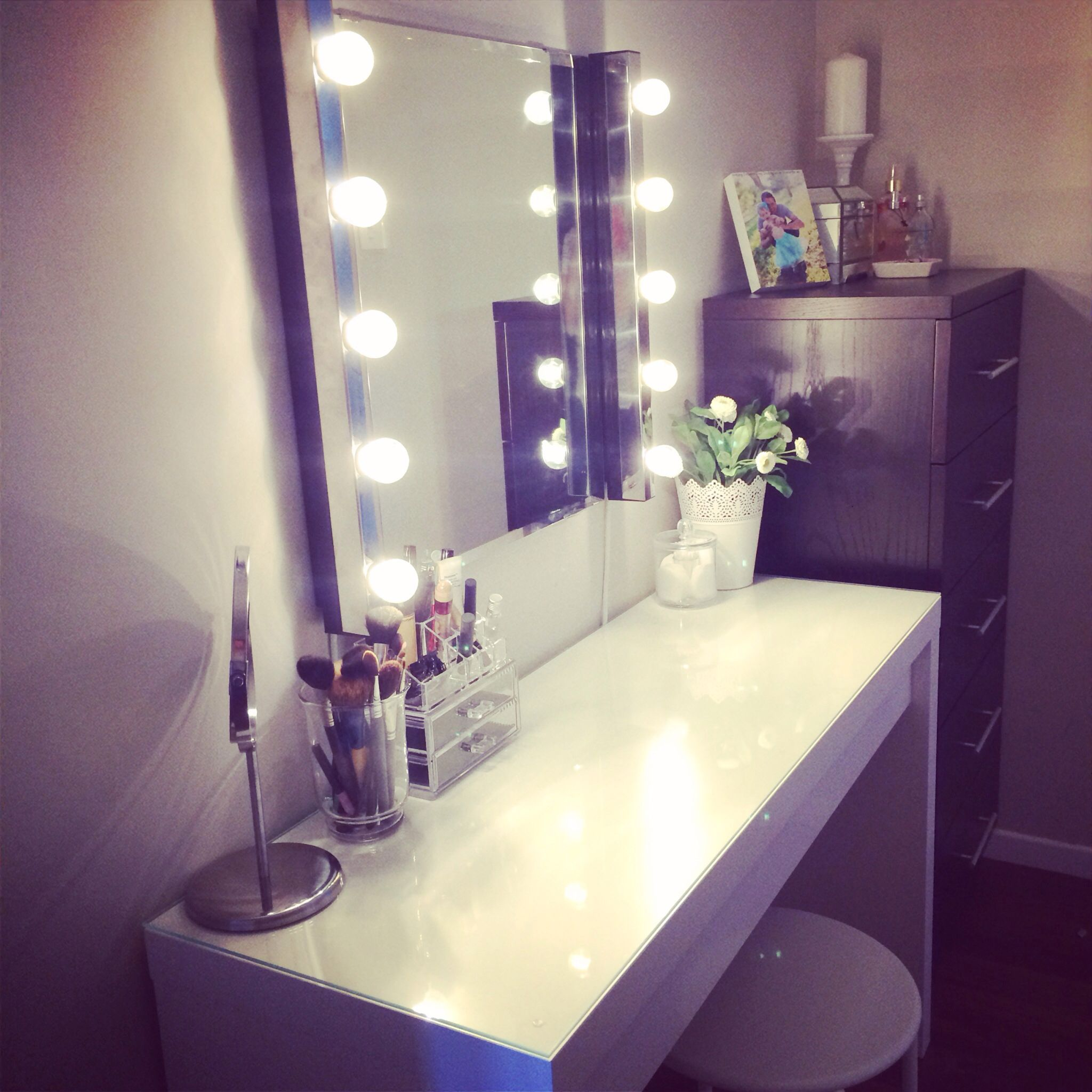 Ikea malm vanity mirror lights and stool also from ikea make accessories furniturecharming white makeup vanity with lights and white wooden table featuring purple frame mirror and 5 step drawer combine with white geotapseo Choice Image