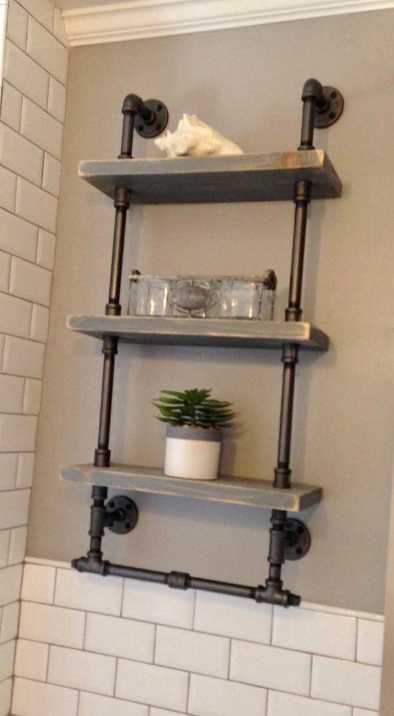 Bathroom shelves with towel rack, Reclaimed Wood, Industrial Pipe, Rustic, Industrial, Shabby Chic, Steampunk design, Hampton Industrial