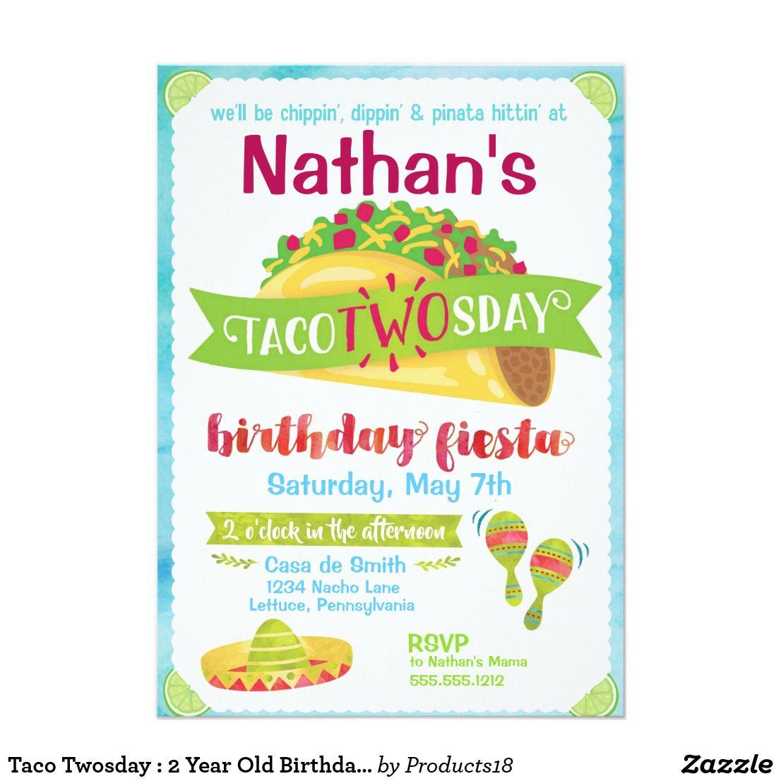 Taco Twosday 2 Year Old Birthday Invitations