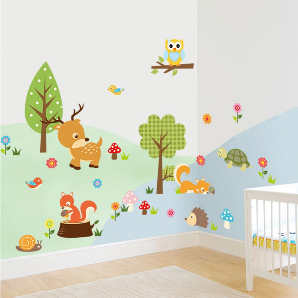 mignon animaux sticker mural hibou tortue arbre for t. Black Bedroom Furniture Sets. Home Design Ideas