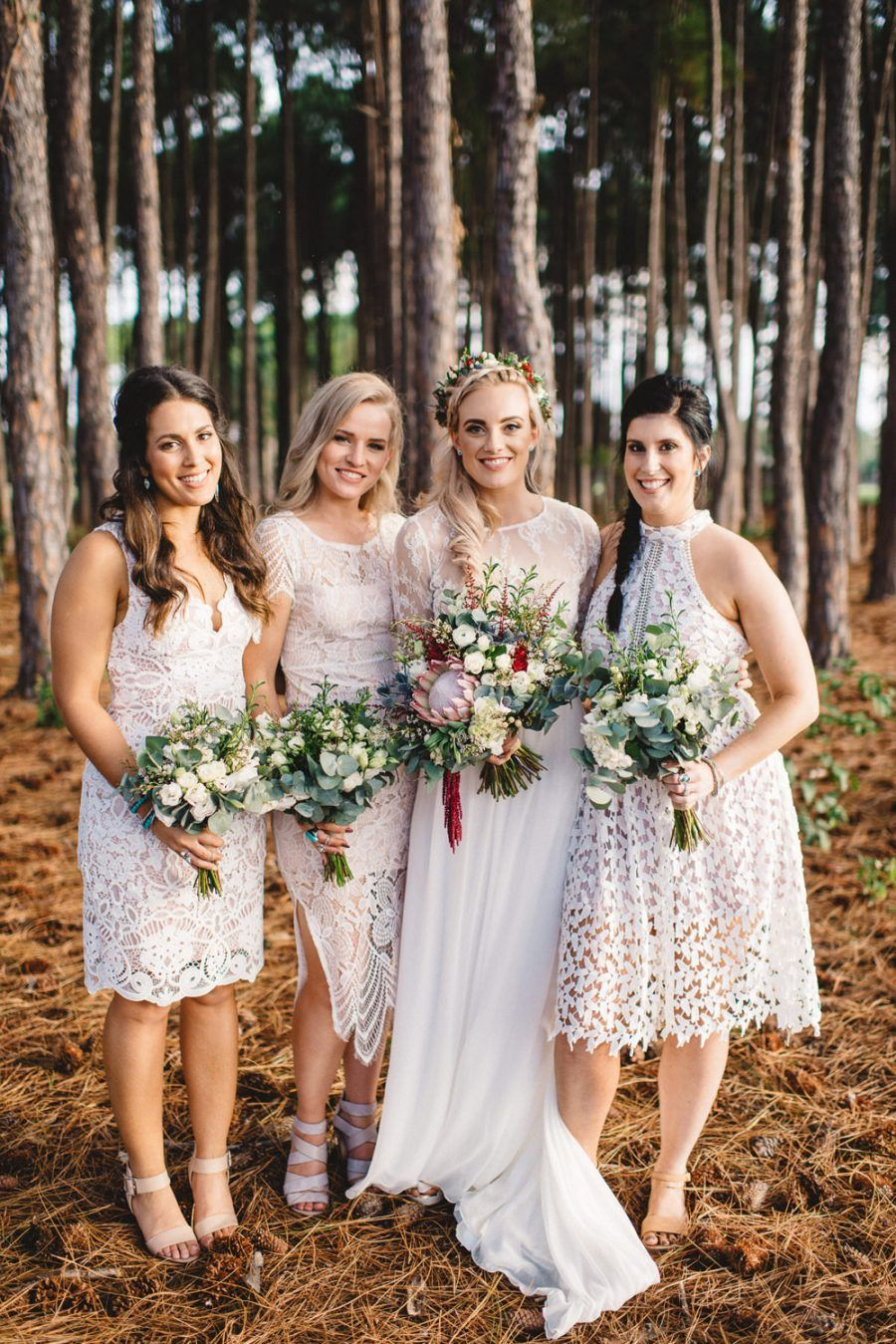 Bridesmaids in mixed white dresses bridesmaids pinterest