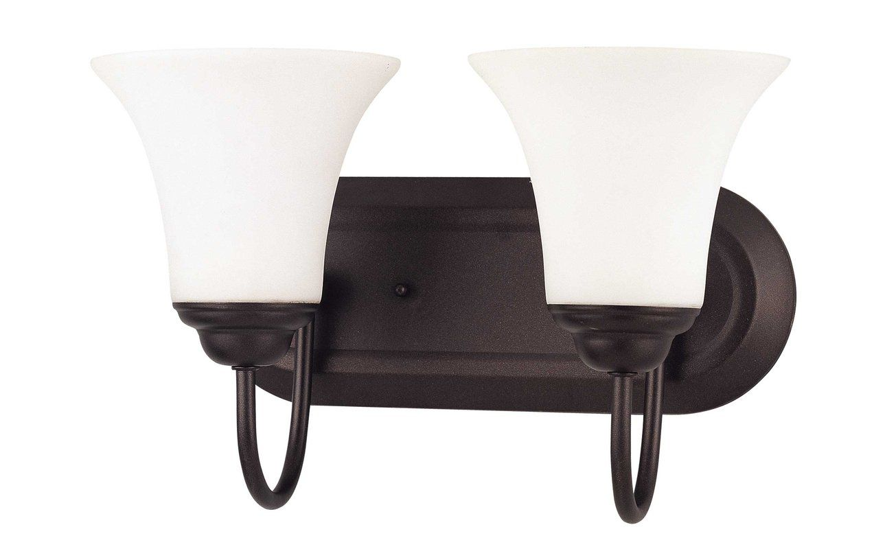 Photo of Nuvo Lighting 60/1853 Dark Chocolate Bronze Dupont 2 Light 13″ Wide Bathroom Vanity Light with Frosted Glass Shades – LightingDirect.com
