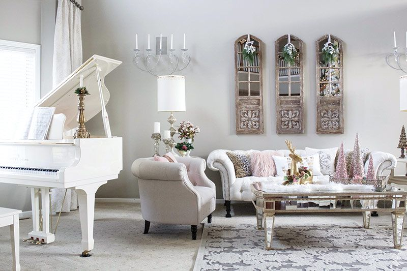 Vintage Glam Living Room With White Baby Grand Piano And Christmas Decor Living Room Decor With Piano Glam Living Room Decor Modern White Living Room