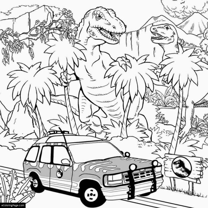 JURASSIC WORLD TREX and INDOMINUS REX coloring page