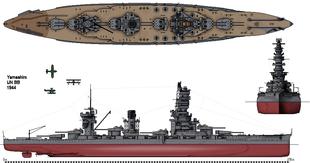 IJN Yamashiro - Corazzata - ClasseFusō Ordinata1911 Impostata1912 Entrata in servizio 1915 Destino finaleAffondate entrambe nella Battaglia dello Stretto di Surigao, il 25 ottobre 1944 Caratteristiche generali Dislocamento39.782 Lunghezza 213 m Larghezza30,61 m Altezza 9,68 m Propulsione4 eliche; turbine Brown-Curtis; 24 caldaie con 40000 shp prima dei lavori; 6 caldaie Kampon da 75.000 shp dopo i lavori[1] Velocità25 nodi Autonomia8.000 m a 14 n Equipaggio1.400