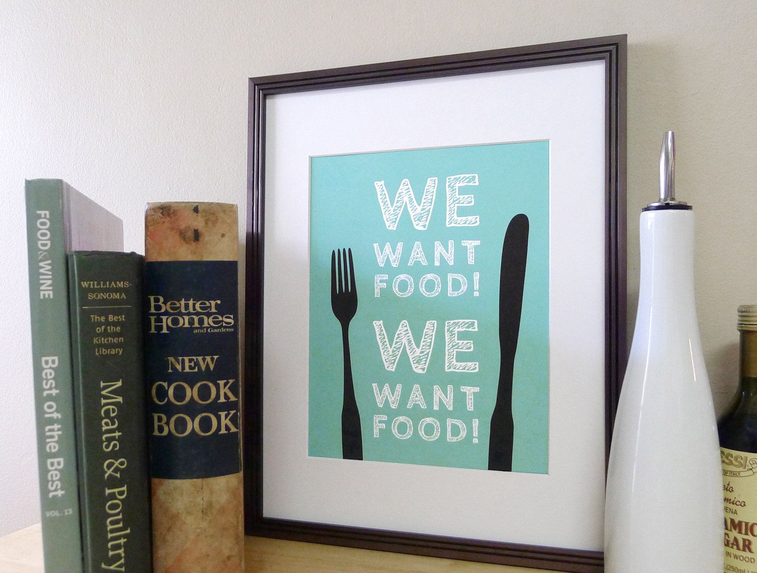 Kitchen Art Food Sign - Fork and Knife Typography Print / Poster ...
