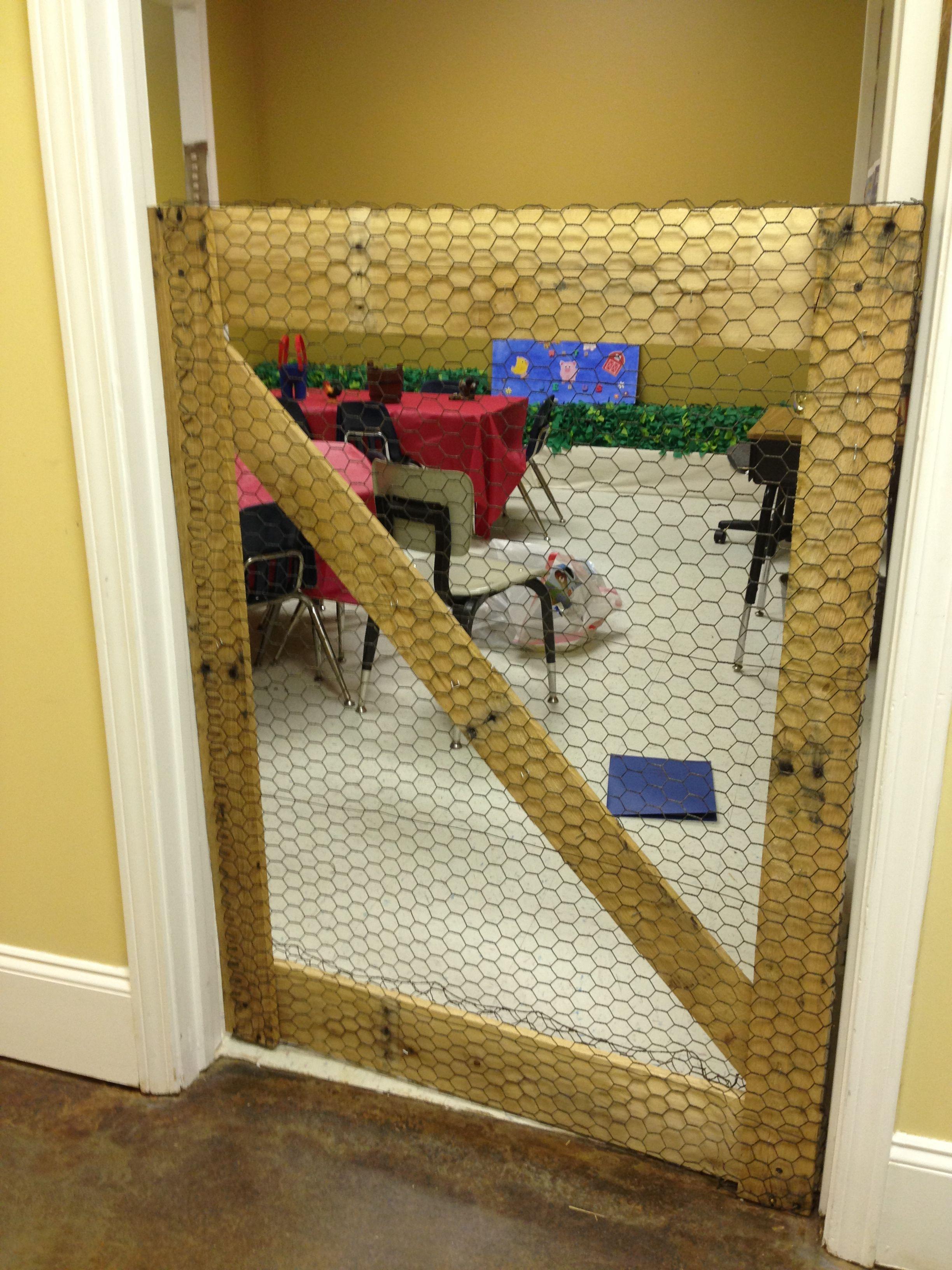 Preschool area chicken coop gate (used as their door