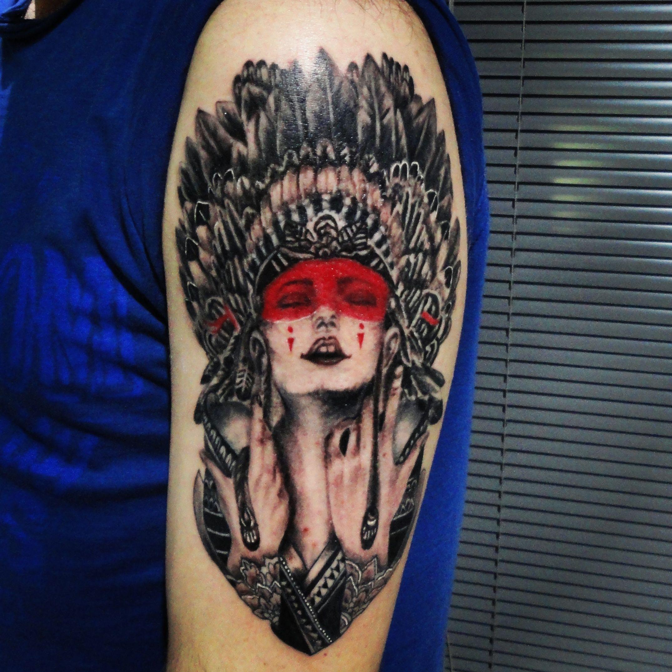 www.tattnroll.com indian girl headdress tattoo, tattoo, tattnroll ... - Tattoo Studio Bielefeld