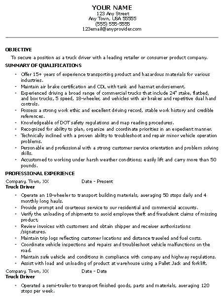 Owner Operator Resume Driver Resume Sample Owner Operator