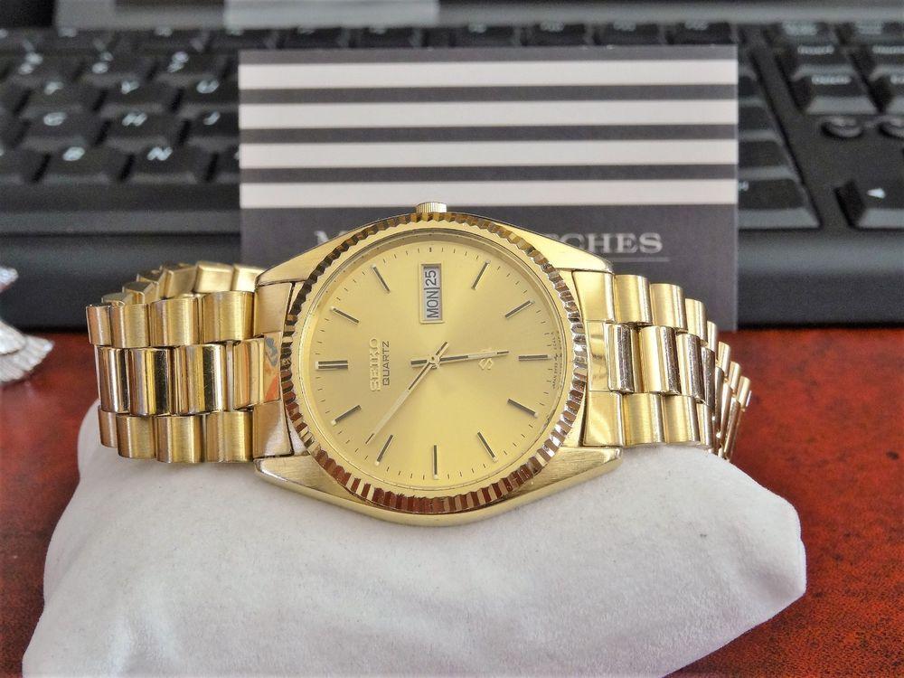278004e9d Retro Seiko Gold Tone Water Resistant Men's Watch w/ 20mm Gold Tone Steel  Band! #Seiko #DressFormal
