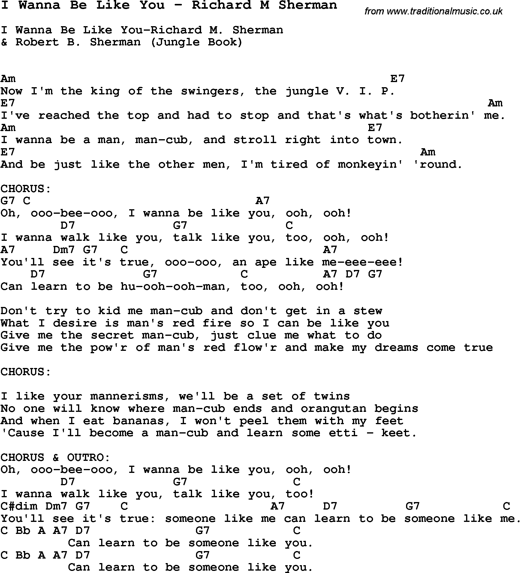 Song i wanna be like you by richard m sherman with lyrics for song i wanna be like you by richard m sherman song lyric for vocal performance plus accompaniment chords for ukulele guitar banjo etc hexwebz Images
