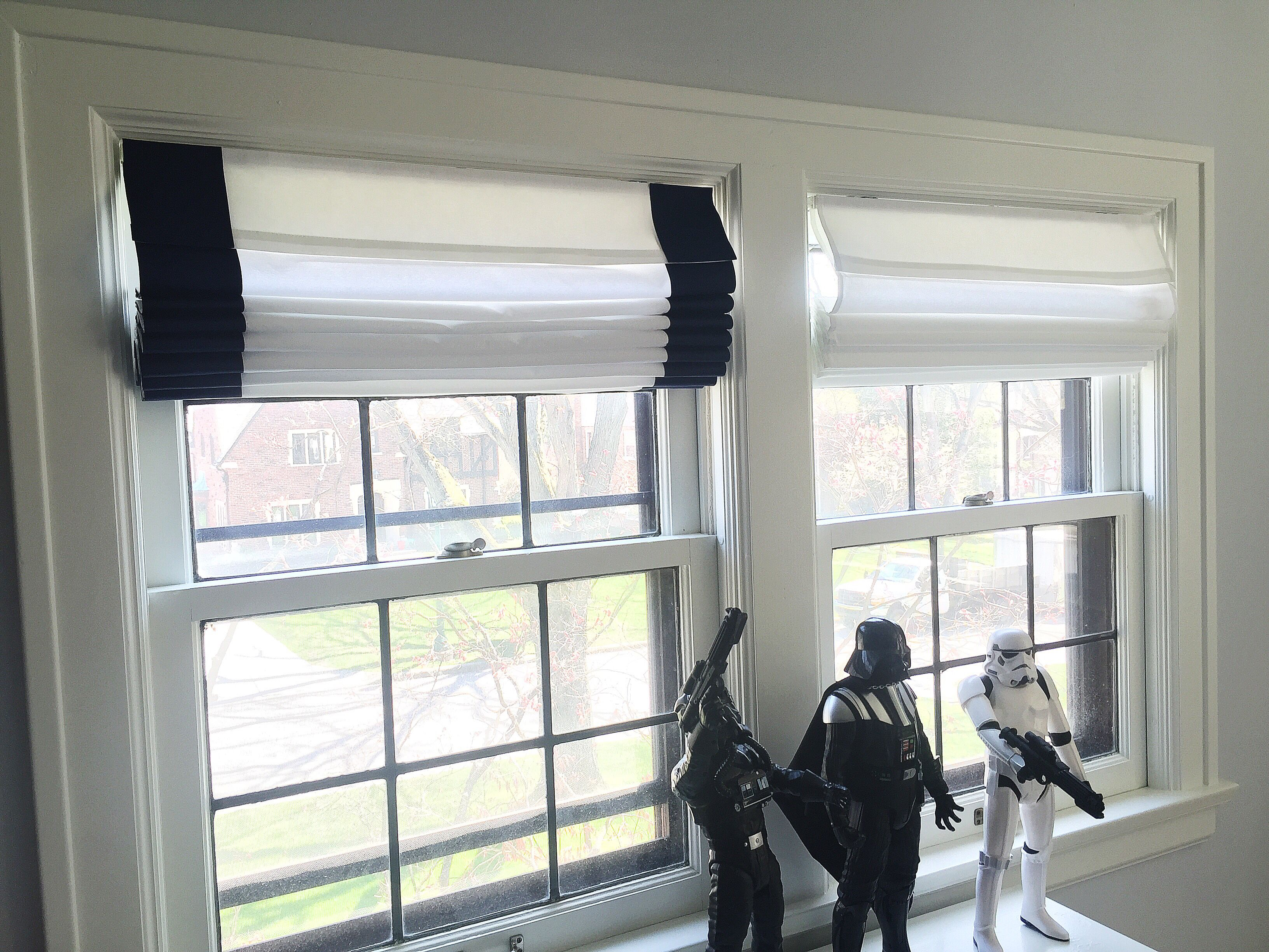 No Sew Diy Custom Roman Shades Add 4 Grosgrain Ribbon To