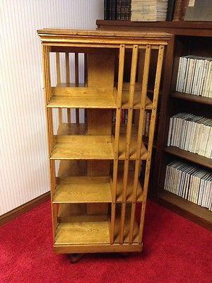 Solid Oak Rotating Revolving Antique Bookcase Bookshelf C 1900