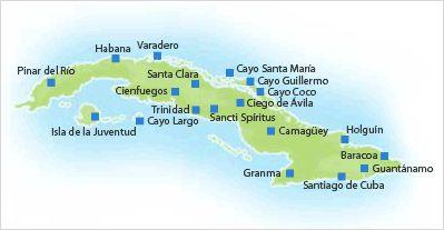 Destinos de Cuba - Hoteles en Cuba por Destinos - Mapa de