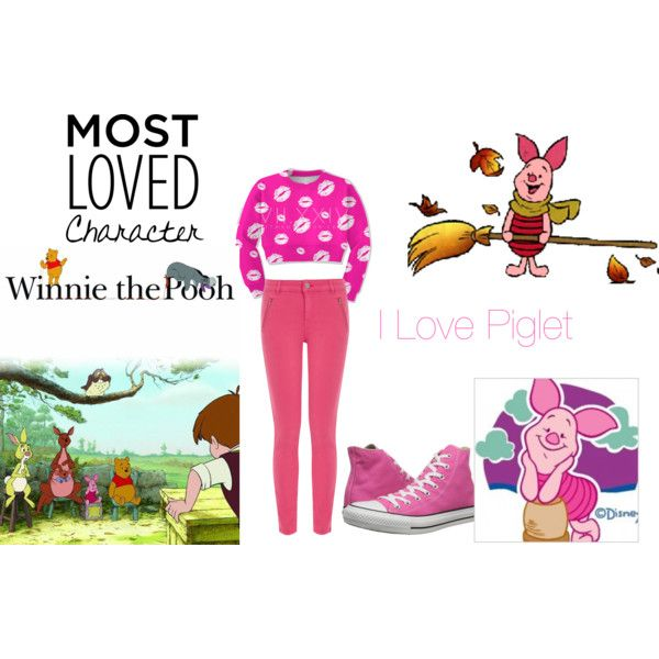 I LOVE PIGLET by music4life12 on Polyvore featuring moda, Oasis and Converse