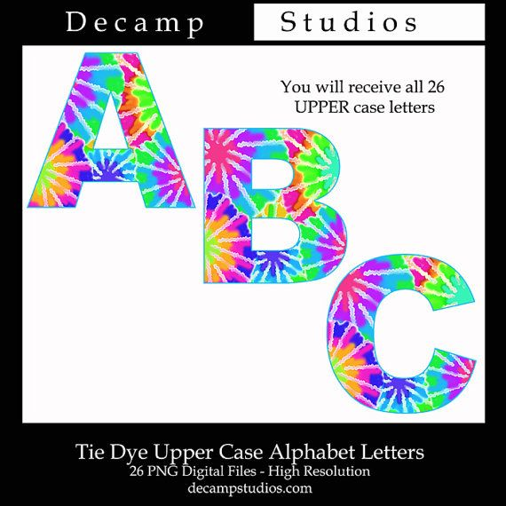Tie Dye Letter Clipart Alphabet Digital Graphics Clip Art Design