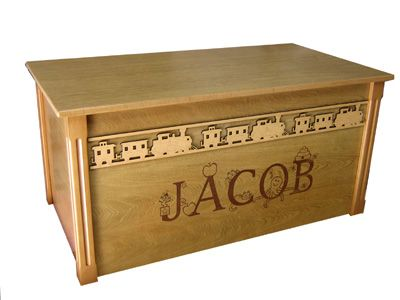 Oak Wooden Toy Box With Border And Engraved Name