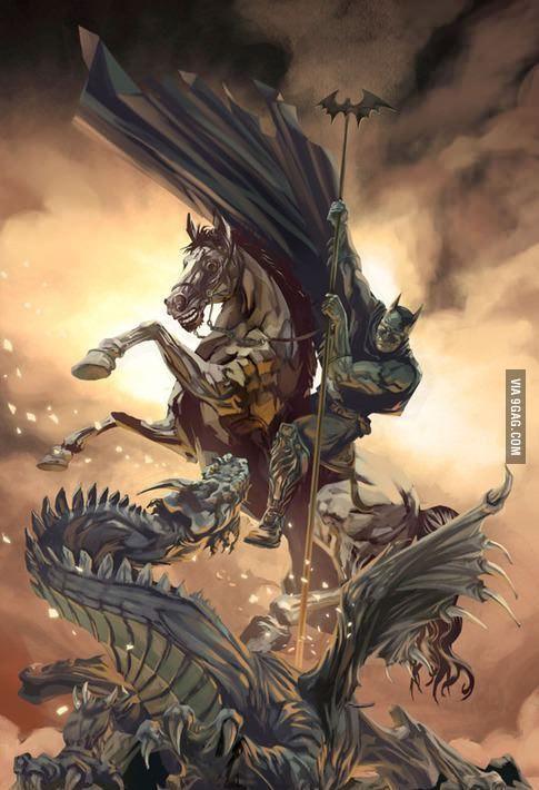 I raise you horse-riding, dragon-slaying Batman! | tattoo ...