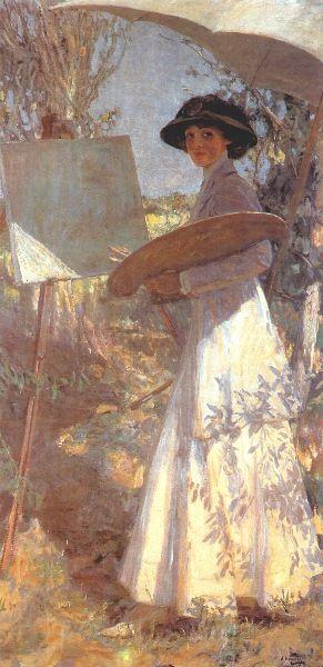 Mrs Lavery Sketching - Sir John Lavery
